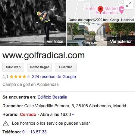 Opiniones sobre la tienda golfradical
